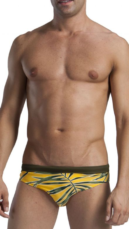 Men's Swimwear Low Rise Brief Trunks Yellow Leaf pattern 1121s2